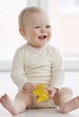Long sleeve baby body made of silk/merinowool in white