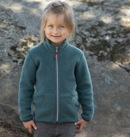 Ruskovilla / Kinder Fleecejacke aus Merinowolle in waldgrün