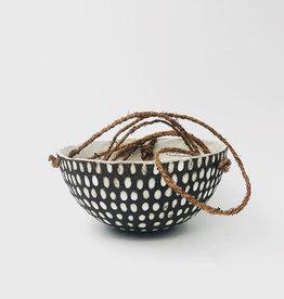 ANUFAKTUR / Pot de fleur en faïence noir/blanc