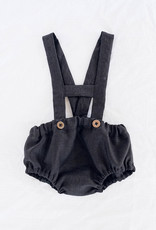 Short linen dungarees black for baby