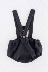 Salopette courte noir en lin pour bébé