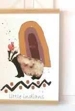 """Poster """"Kleiner Indianer Dachs mit Freunden"""""""