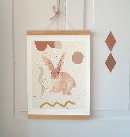 """MONTSCHITCHI/ Affiche """"Petit lapin sympathique"""""""