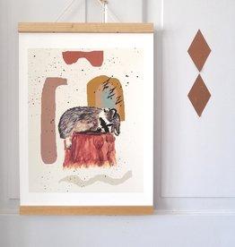 """MONTSCHITCHI/ Poster """"Kleiner schlafender Waschbär"""""""