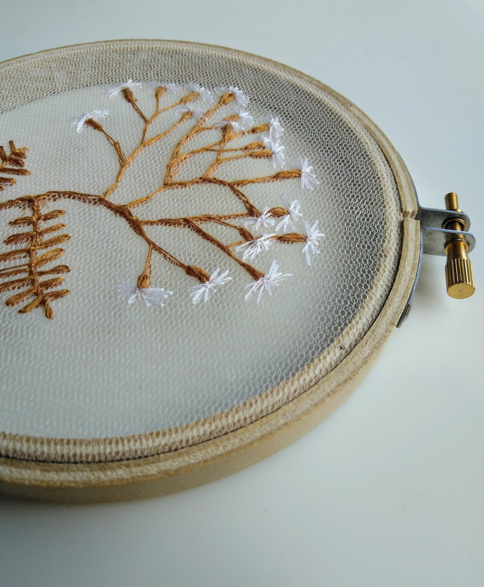 """Embroidery art """"Little Flowers on Tulle"""""""