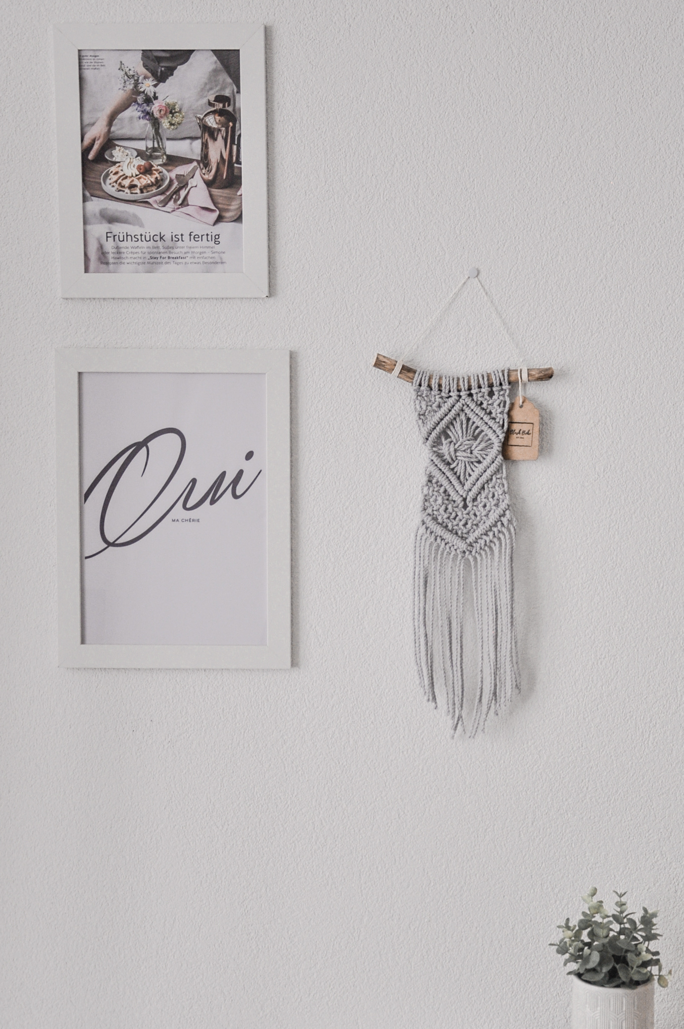 "Macramé wall hanging ""Omnia"" light grey or natural colours"