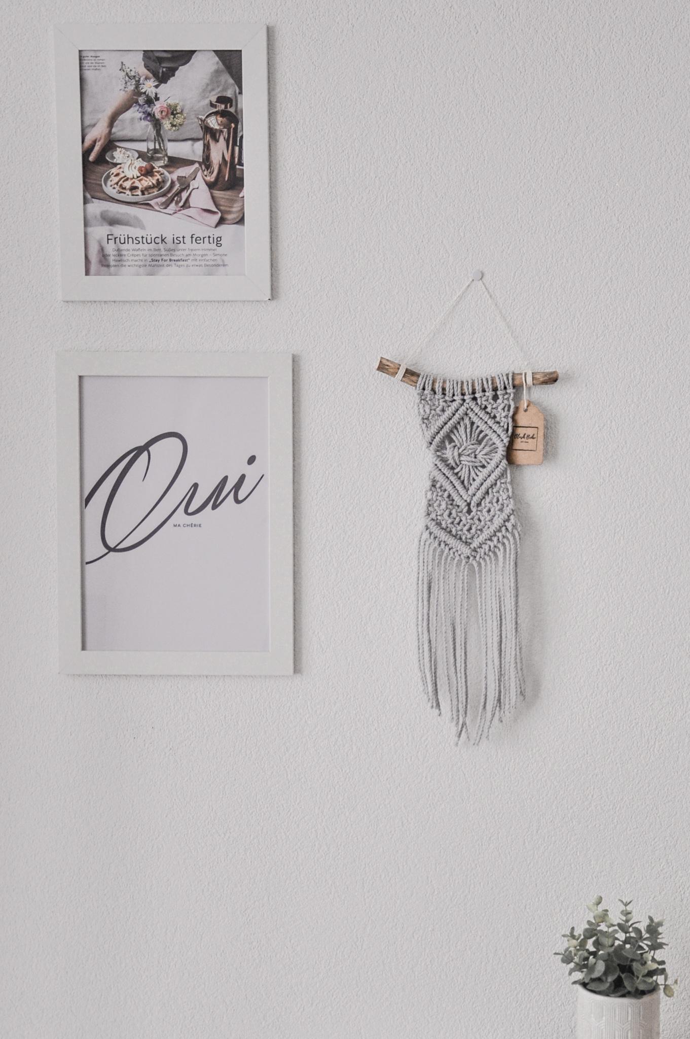 "Makramee Wandbehang ""Omnia"" hellgrau oder naturfarben"