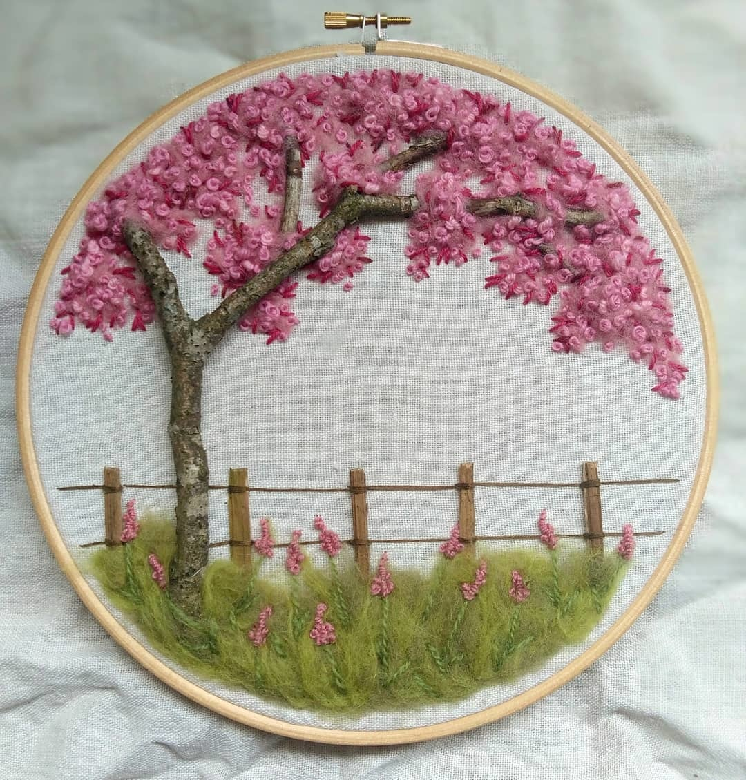 "Embroidery art ""The Blossom of Cherrytree"""