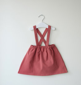 SLEEPY FOX / Dungaree skirt in marsala red