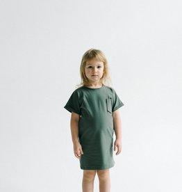 SLEEPY FOX / Kids T-shirt dress in forest green