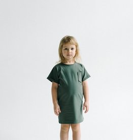 SLEEPY FOX / Robe t-shirt vert forêt pour enfants