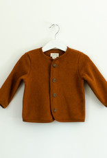 Baby fleece cardigan with button fastening in Copper Marl
