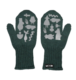 "MOIKO / Kids merino  mittens ""Poppoo"" forest green/grey"