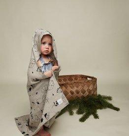 "HEMPEA / Baby hooded towel ""Sleepy forest"" 80x80 cm made of hemp"