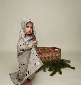 "HEMPEA / Baby hooded towel ""Sleepy forest"" 80x80 cm"