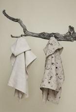 """Kids bath poncho """"Sleepy forest"""" 70x65 cm made of hemp"""