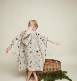 "HEMPEA / Kids hemp bath poncho ""Sleepy forest"" 70x65 cm"