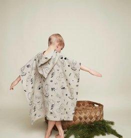 "HEMPEA / ONE-SIZE Kinder Hanf Badeponcho ""Sleepy forest"" 70x65 cm"