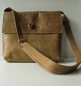 OMPELUS / Handbag olive green reindeer leather 23x26cm