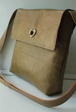 Handbag olive green reindeer leather 23x26cm