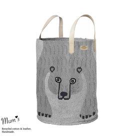 MUM'S / Bear basket light grey 35x45 cm
