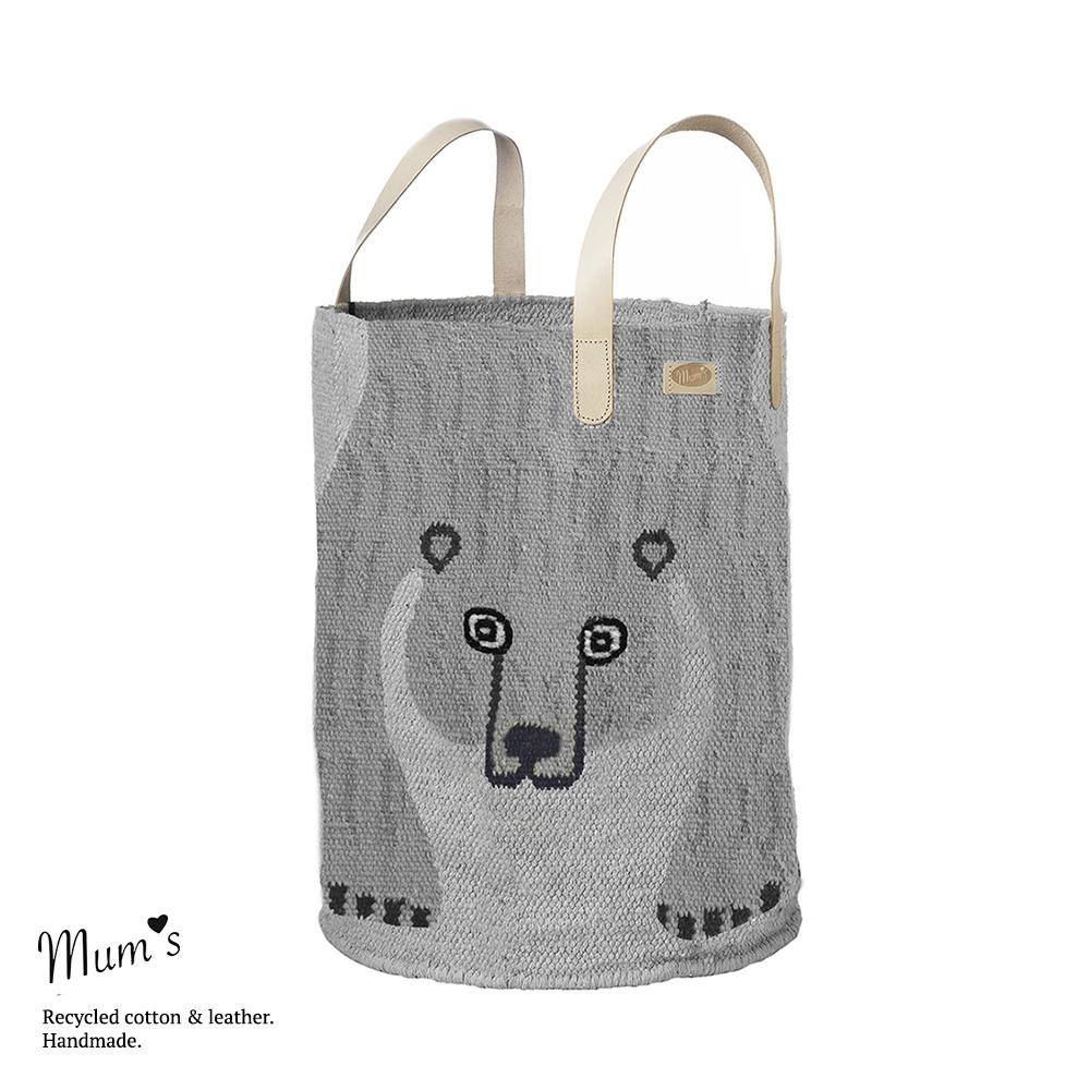 Bear basket light grey 35x45 cm