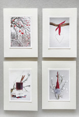 "Handmade greeting cards set of 4 ""Red Colours"""
