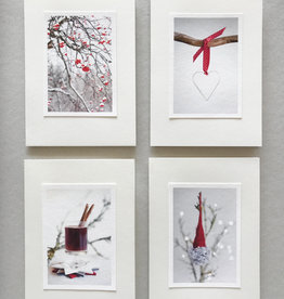 "SANNA HEIKINTALO / Greeting cards set of 4 ""Red Colours"""