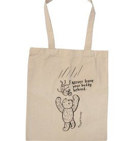 "CupOfTherapy / Tote bag ecru colour ""NeverLeaveYourBuddy"""