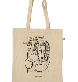 "CupOfTherapy / Tote bag ecru-coloured ""I'mTooTired"""
