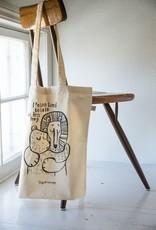 "Tote bag ecru-coloured ""I'mTooTired"""