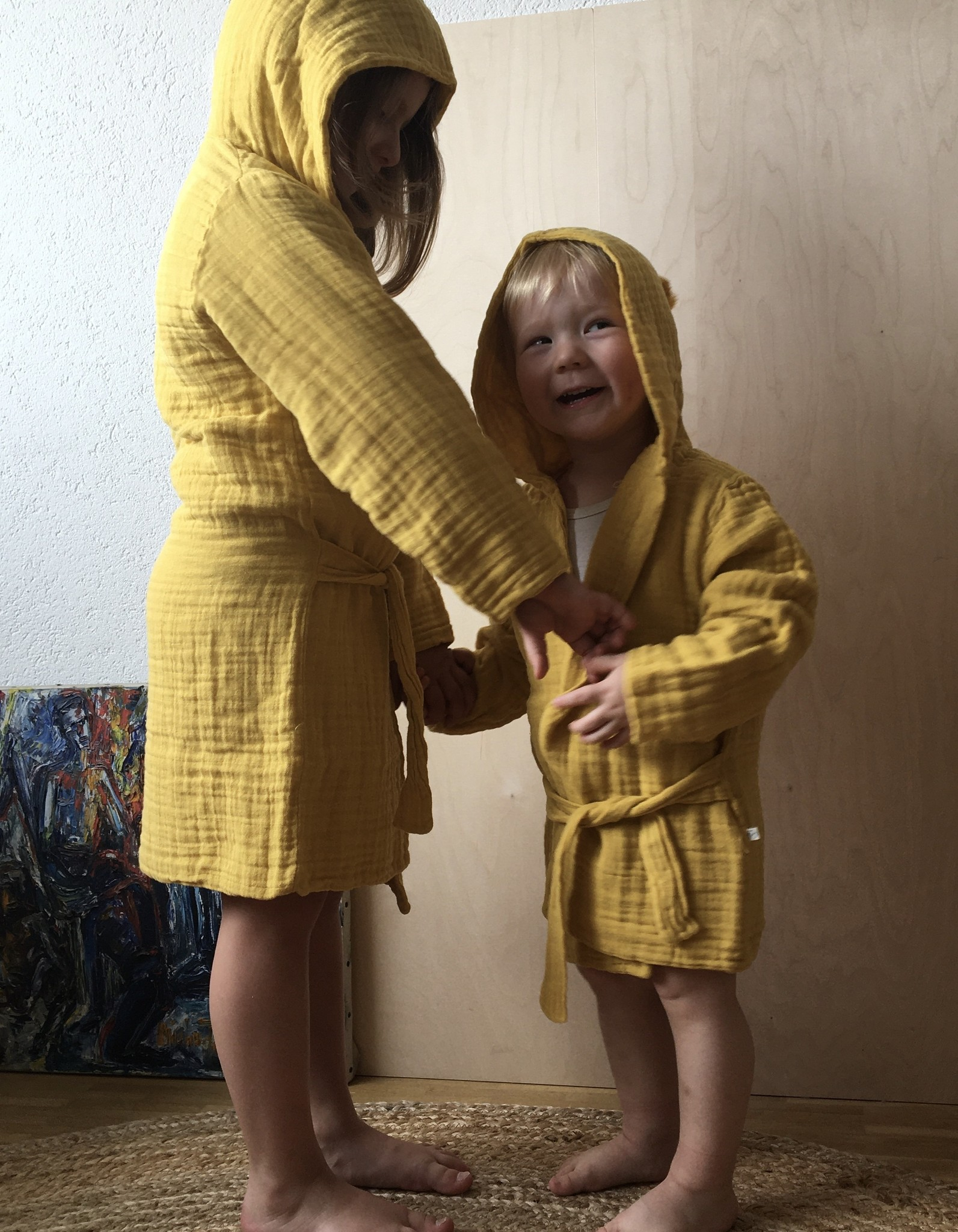 Kids bathrobe mustard