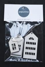 Häuser-Deko für Weihnachten weissfarben