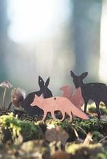 Fuchs-Holzdeko rotfarben für Weihnachten