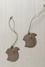Wooden Squirrel decoration brown-colored