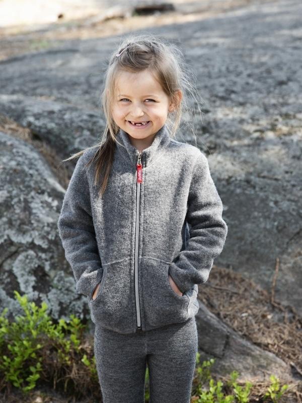 Kids Merino Fleece jacket grey coloured