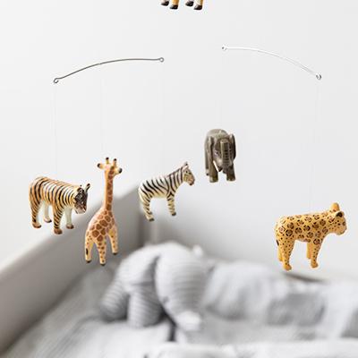 "Wooden mobile ""Safari Animals"" handmade"
