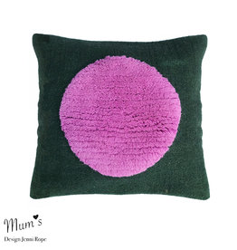 "MUM'S / Wool pillow case ""One Pink on Green"" 45x45 cm"