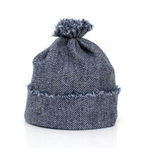 Baby Beanie-Mütze jeansblau aus feiner Merinowolle