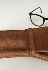 Etui cognacfarben aus feinem Rentierleder für Brille oder Handy