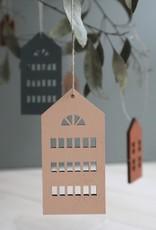 Häuser-Holzdeko weissfarben