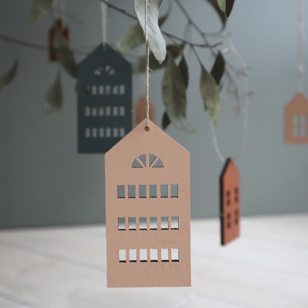 Wooden Houses deco white coloured