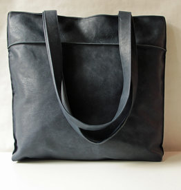 "OMPELUS / ""Shopper"" blue-colored in reindeer leather 42x38cm"
