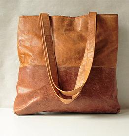 """OMPELUS / """"Shopper"""" couleur marron en cuir de renne 38x36cm"""