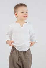 Kinder Leinenhemd weissfarben