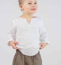 HULMU / Chemise en lin pour enfants, de couleur blanche