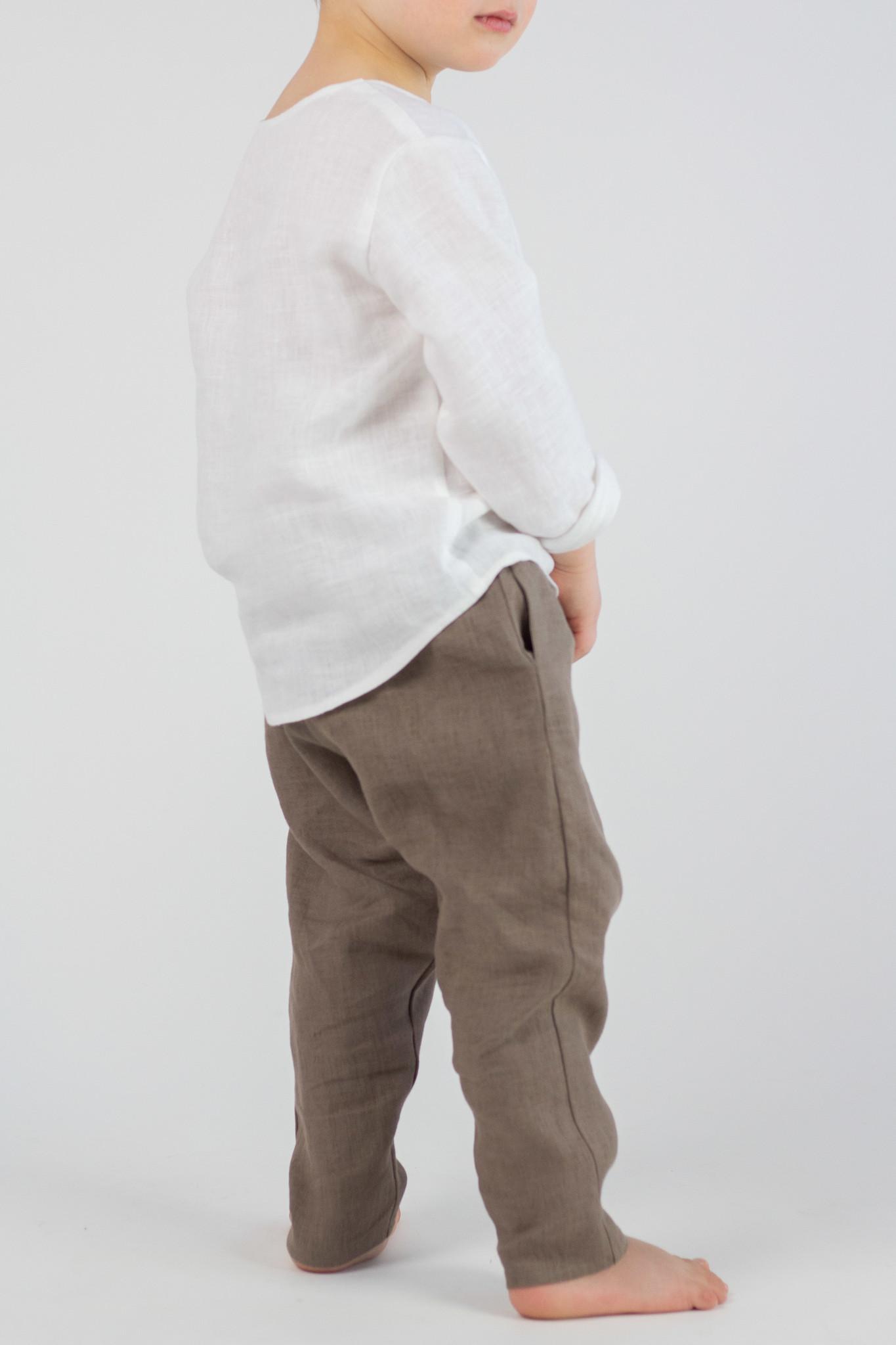 Kids linen shirt white-coloured