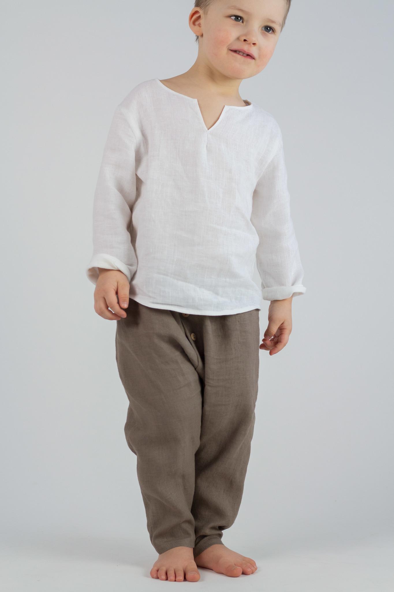Kinder Leinenhose khakifarben