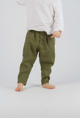 Kids Linen Trousers olive-green