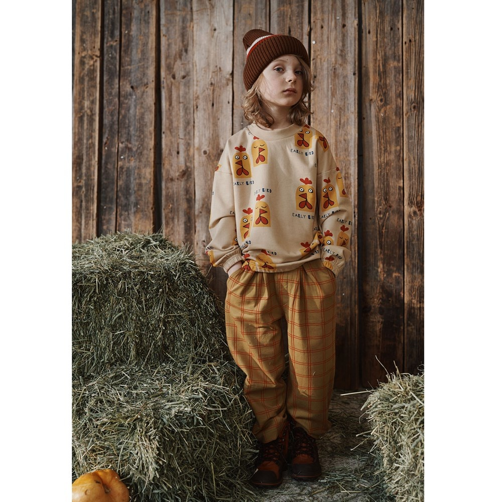 "Kinder Sweatshirt ""Early bird"" gelbfarben"